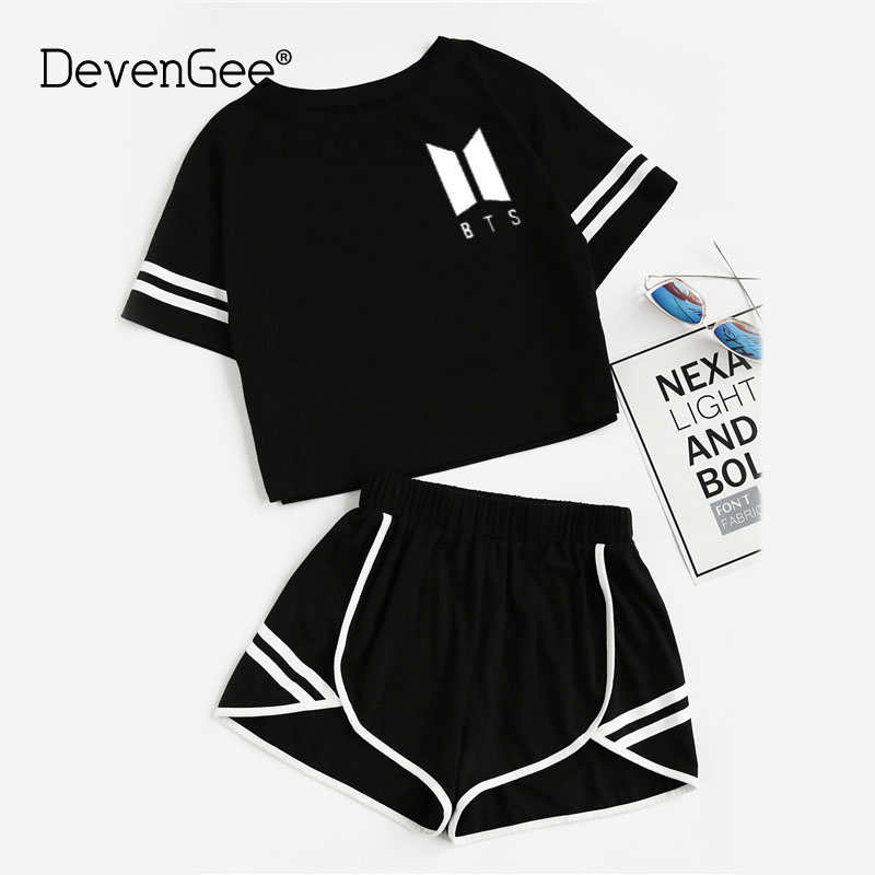 DevenGee 2018 Summer Sporting Track Suit Female Clothes 2 Piece Set BTS Crop Top Shorts Two Piece Outfits Casual Women Tracksuit
