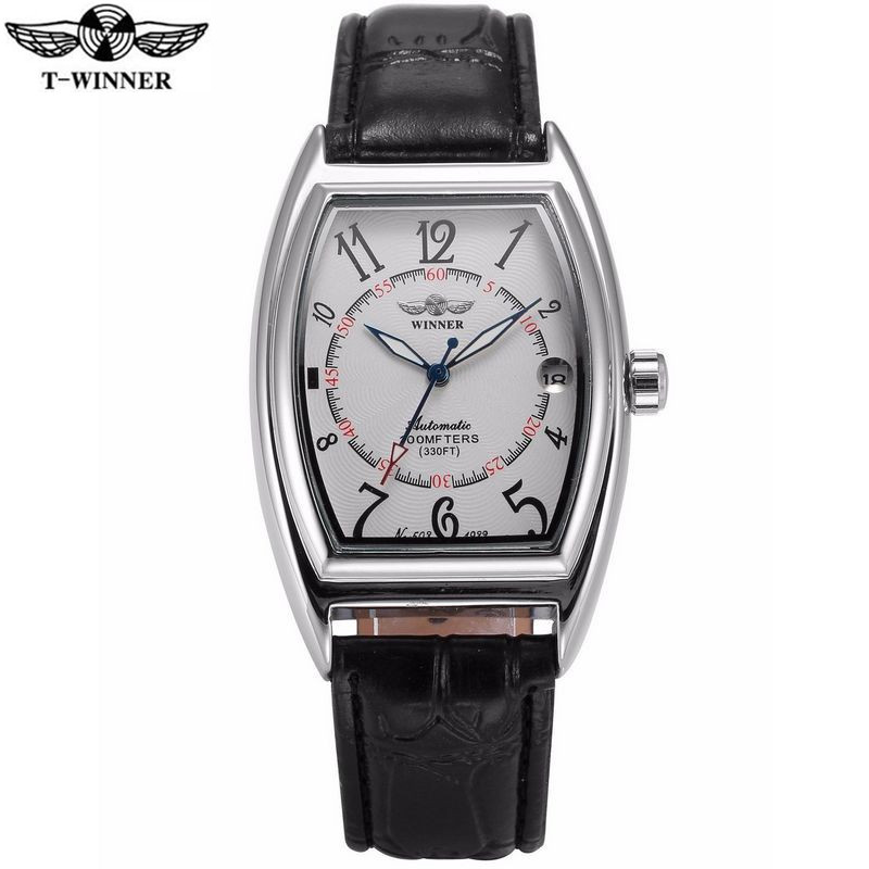 T-Winner Fashion Men's Day Tonneau Auto Mechanical PU Leather Watch Watches Wristwatches Gift Free Ship free shipping 3 pp eyeliner liquid empty pipe pointed thin liquid eyeliner colour makeup tools lfrosted silver