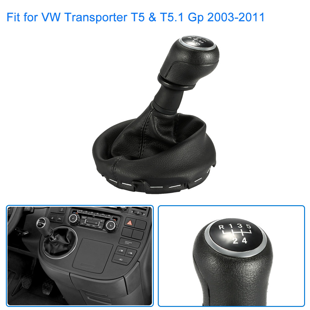 SI-A0094 5 Speed Gear Shift Collars Knob Gearstick Gaiter Boot Replacement Kit for VW Transporter T5 & T5.1 Gp 2003-2011