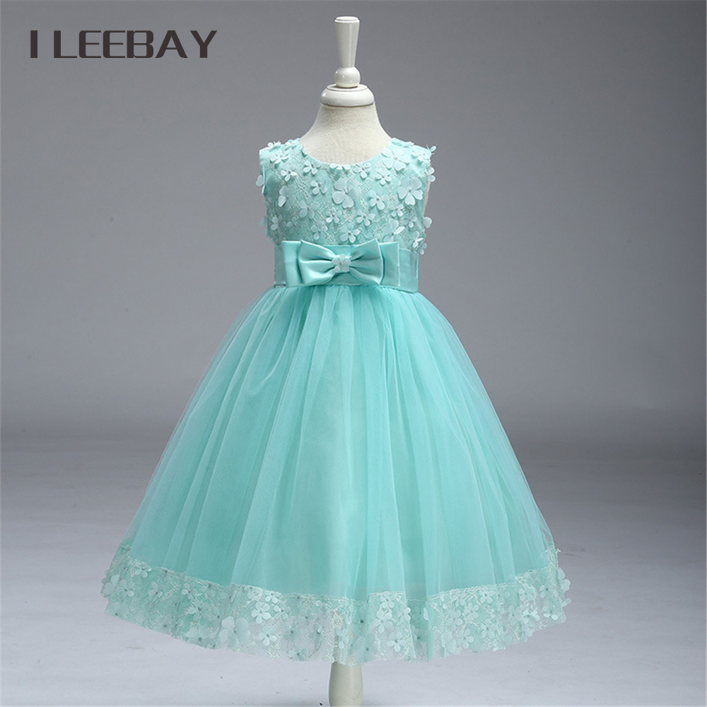 Chiffon Baby Girls SunDress Brand Summer Style Floral Lace Kids Evening Dress Teenager Flower Girl Bow Tulle Ball Gown Costume  brand kids clothes girl dress bohemian style new 2017 summer vest slip dress bow soft floral chiffon girls dress size 5 12