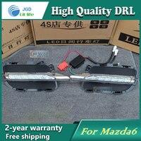Free shipping !12V 6000k LED DRL Daytime running light case for Mazda 6 Mazda6 2012 2013 fog lamp frame Fog light Car styling