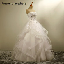 Forevergracedress New Design Ball Gown Long Wedding Dress Elegant Strapless Applique With Lace Up Back Bridal Gown Plus Size
