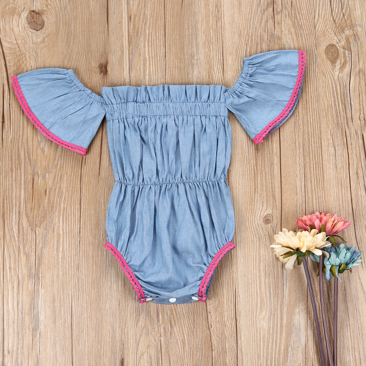 4a9137dfde9 0-3Y Toddler Kids Baby Girl Clothes 2017 Summer Off Shoulder Ruffled Denim  Romper Jumpsuit