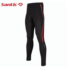 Santic Winter Reflective Cycling Pants Men Fleece Thermal Long Padded Gel Pantalones Breathable Bicycle Mtb
