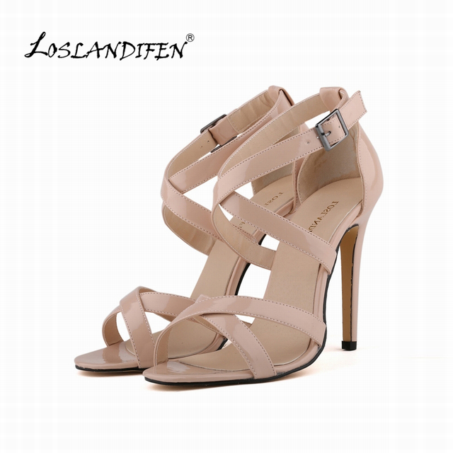 LOSLANDIFEN New Fashion Women Thin Heels Pumps Open Toe Ankle Straps High Heels Shoes Summer Pumps Patent Leather 102-1A-PA