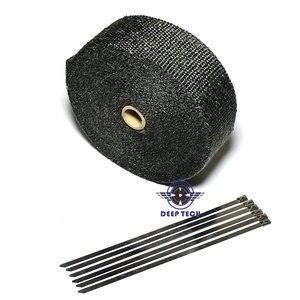 """Image 4 - 15 メートル黒排気ラップターボ熱マニホールドヘッダオートバイ排気ラップテープバイク排気グラスファイバーテープ 2 """"× 50ft"""