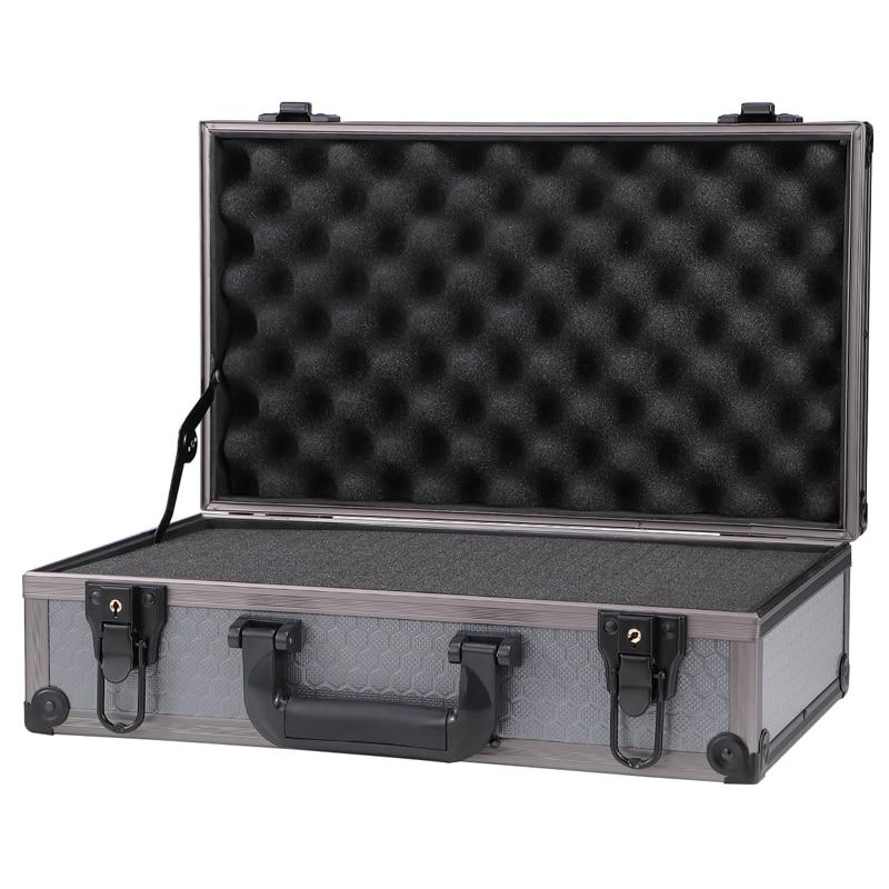 Small Hard Latching  Aluminium Flight Case Tool Storage Box Camera Photography DJ Foam Cutting Trolley Tool Bag