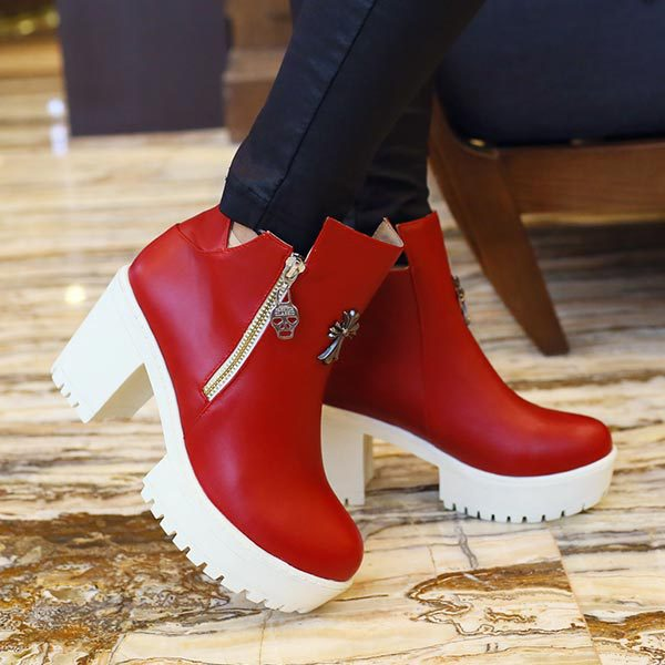 ФОТО 2014 Winter New Fashion Women Boots Punk Rock Heels Ankle Boots women thick high heel Platform Autumn Shoes large Size 34-43
