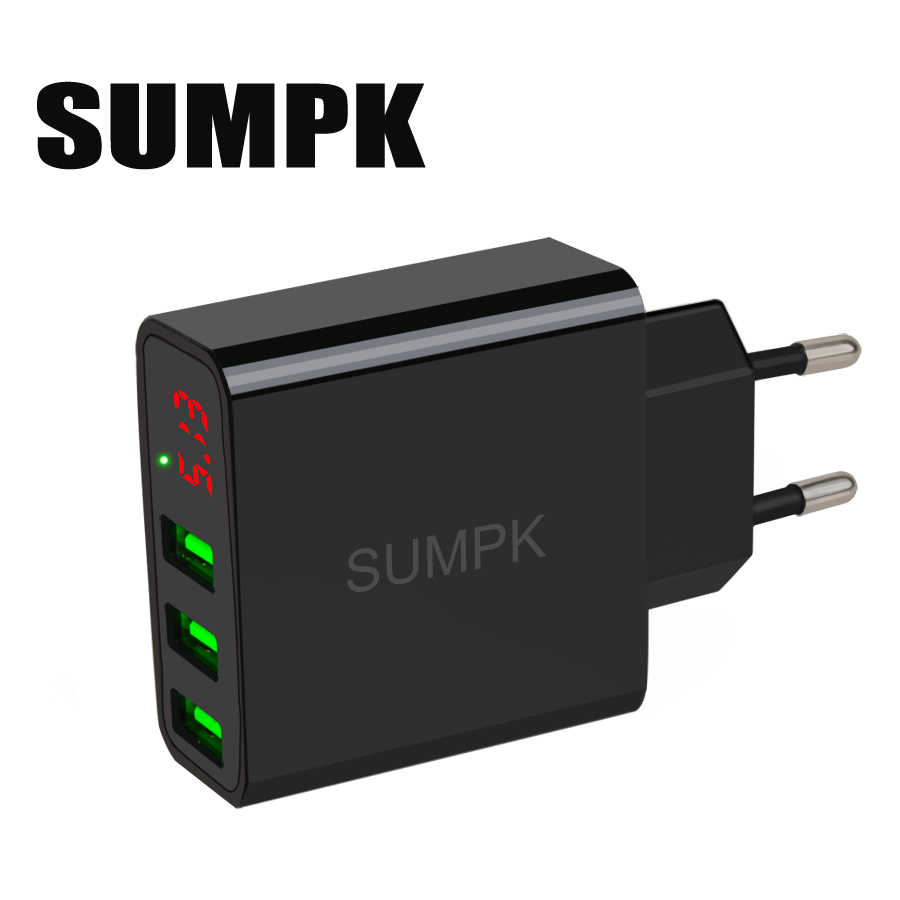 SUMPK usb wall charger 5V3.1A  LED display Portable phone Charger 3 USB Mobile Phone Travel Charger EU plug for iphone Samsung