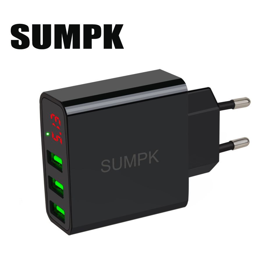 SUMPK USB-Wandladegerät 5V3.1A LED-Display Tragbares Telefon Ladegerät 3 USB-Handy Reiseladegerät EU-Stecker für iPhone Samsung