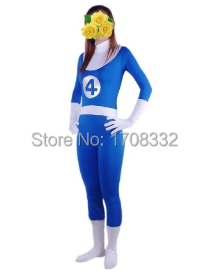 Fantastic Four Uniform Superhero Costume blue spandex one piece zentai suit free shipping
