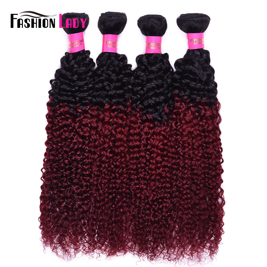 Fashion Lady Pre-Colored Burgundy Brazilian Hair Bundles 4 Bundles Curl Human Hair 1b/burg Red Ombre Hair Bundles Non-remy ...
