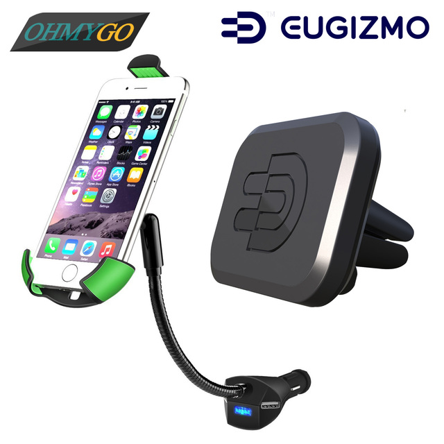 Car Phone Holder Mount with 3-pors USB Charger +Vehicle Magnetic Vent Holder Stand for IPhone Samsung HTC Universal Smartphones