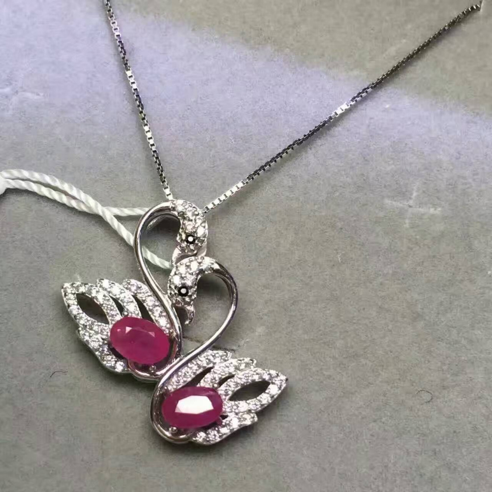 natural red ruby gem Pendant natural gemstone pendant necklace 925 sterling silver Fashion lovely Couple Swan girl gift jewelery