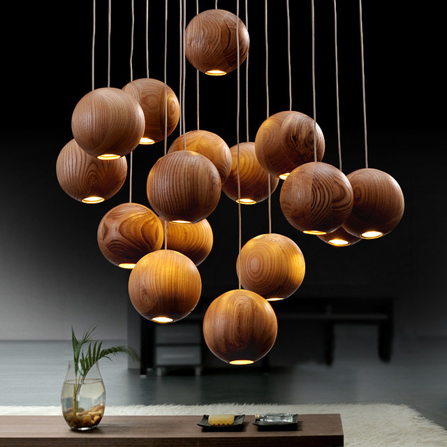 Moderne Massivholz Ball Kronleuchter Für Esszimmer/wohnzimmer, 7/10 Heads  Vintage Holz Ball