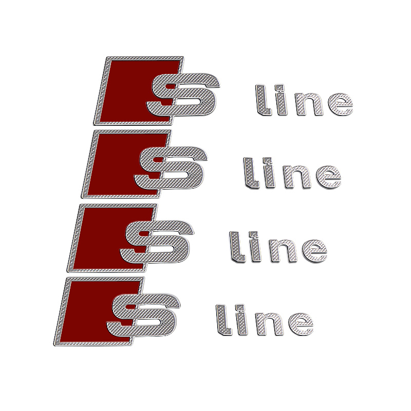 4pcs S Line Metal Car Door/window Emblem 3D Decoration Sline Stickers For Audi S Sports A1 A3 A4 A5 A6 A7 A8 S8 Q3 Q5 Q7