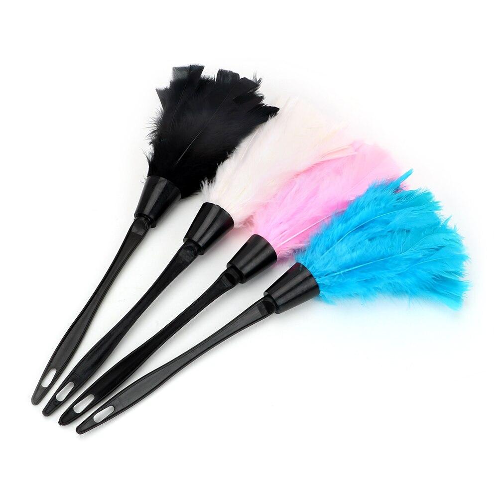 Cepillo de polvo de mango largo plumero de pluma suave para muebles herramientas de limpieza del hogar del coche