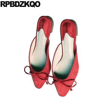 Flats Shoes Cheap | Chinese Ladies Slippers Mules Women Flats Shoes With Little Cute Bowtie Square Toe Bow Red Large Size Big Cheap Brown Suede