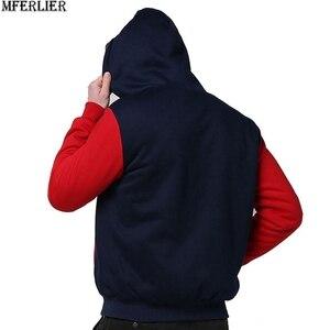 Image 3 - Winter Herfst Mannen Patchwork Sweatshirts Warme Fleece Parka Hooded Hoodies Dikke Grote Maat 8XL 9XL 10XL Oversize Hoody Jas Blauw