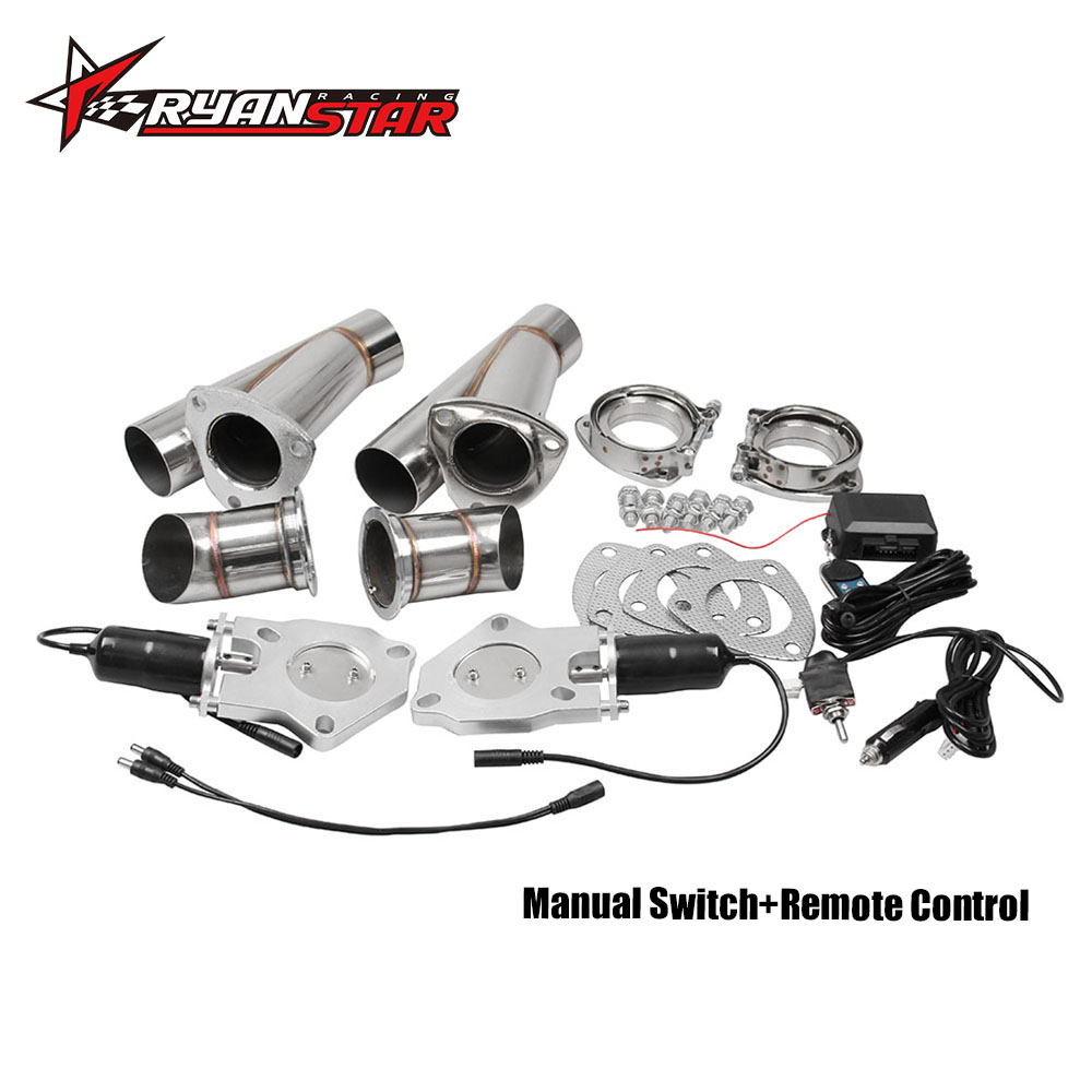 2.25 Stainless Steel Exhaust Cutout Catback Downpipe E-Cut Exhaust Cut Out Muffler with Manual Switch Control