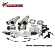 """Ryanstar 2.25"""" 2.5"""" 3"""" 2xCut Out Remote Control/Manual Switch Stainless Steel Y Headers Pair Electric Exhaust Cutout Pipe Kit"""