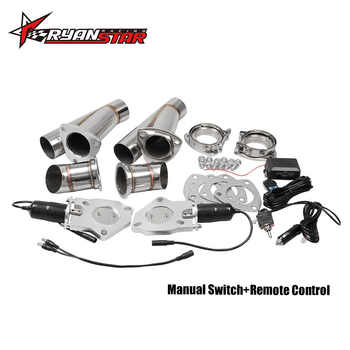 """Ryanstar 2.25\"""" 2.5\"""" 3\"""" 2xCut Out Remote Control/Manual Switch Stainless Steel Y Headers Pair Electric Exhaust Cutout Pipe Kit - DISCOUNT ITEM  25 OFF Automobiles & Motorcycles"""
