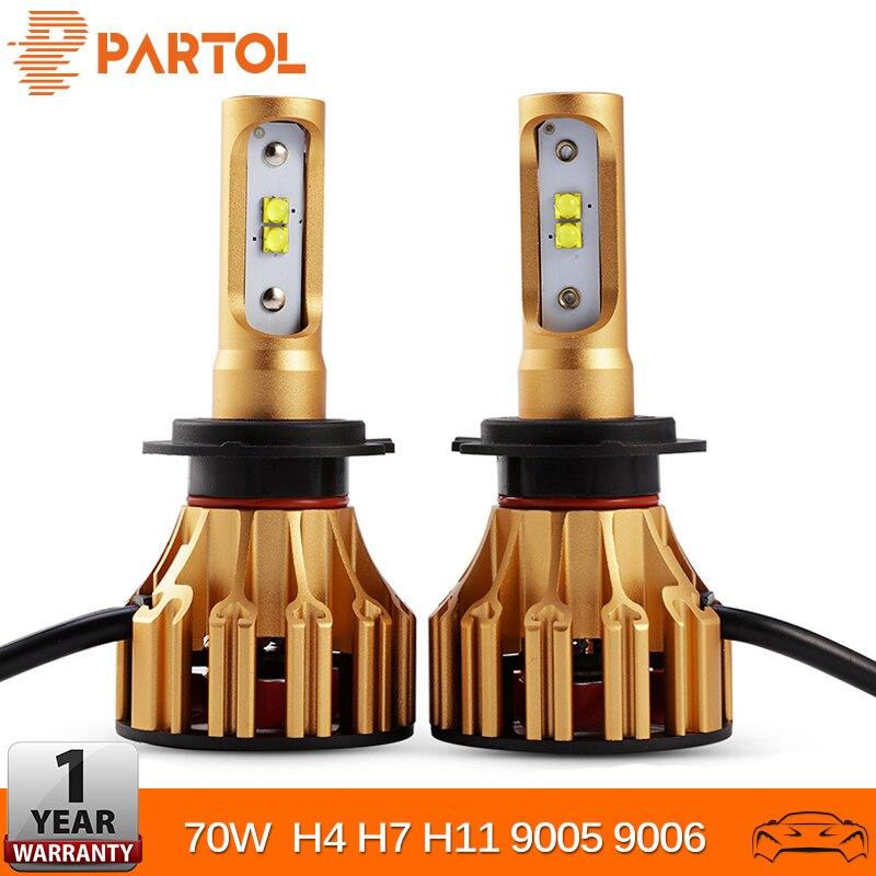 Partol H4 Voiture LED Phare Ampoules Salut Lo Faisceau 70 W 7000LM H7 H11 SMD Puces Automobile Projecteur 9005 9006 feux de brouillard 6500 K 12 V 24 V