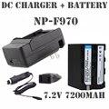 Reemplazar cámara batería np-f960 np-f970 np f950 f970 f750 f550 batería de la cámara + cargador para sony plm-100 ccd-trv35 flash led