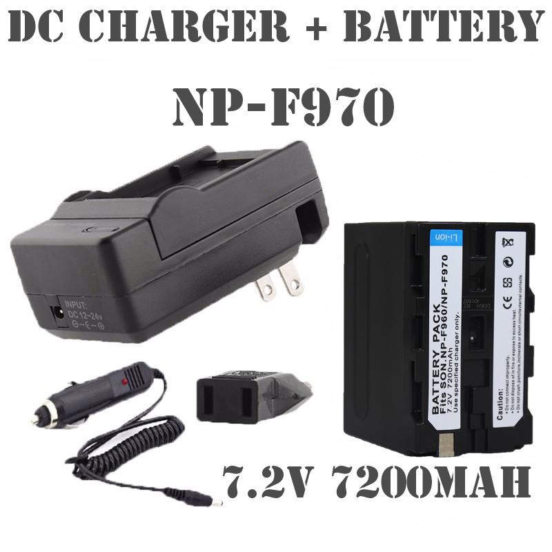 Prix pour Remplacer F550 Caméra batteria NP-F960 NP F970 F950 F750 NP-F970 caméra batterie + chargeur Pour SONY PLM-100 CCD-TRV35 Flash LED
