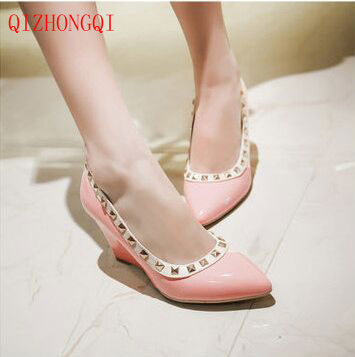 Spring summer Shoes woman Wedges Ladies pumps Pointed toe Patchwork Flock Fashion Leisure Big size 41 42 43 white black Green new 2017 spring summer women shoes pointed toe high quality brand fashion womens flats ladies plus size 41 sweet flock t179