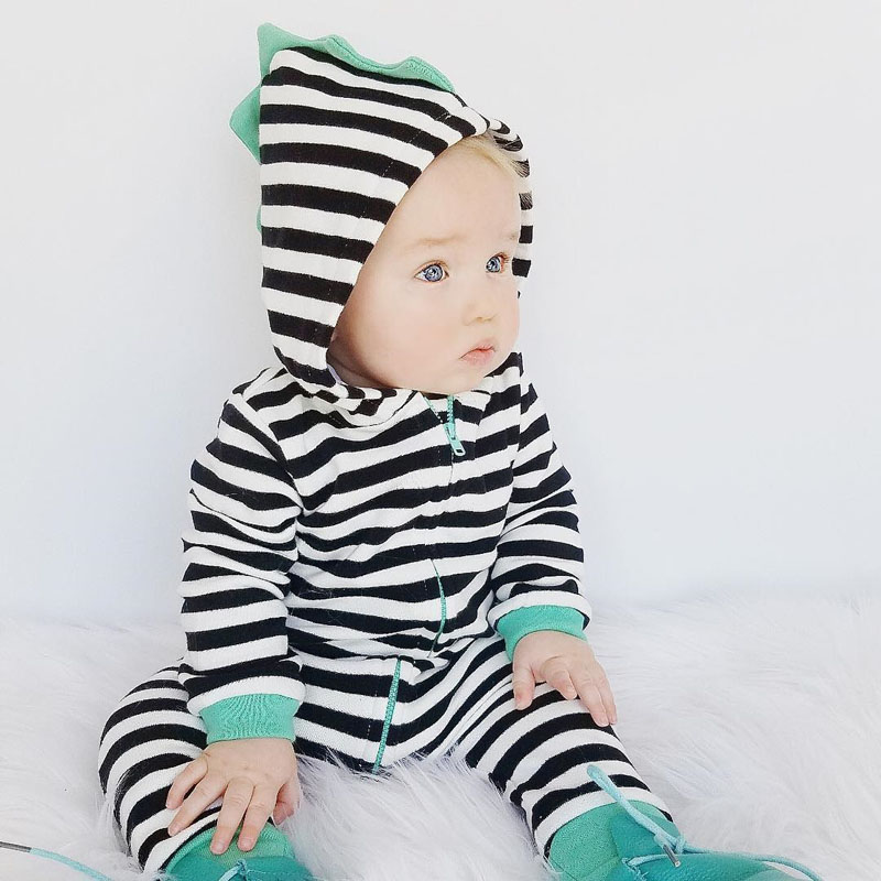Pudcoco 2018 Autumn Newborn Baby Boy Girl Striped Romper Toddler Kids Hooded Jumpsuit Zipper Outfits Long Sleeve Warm Clothes