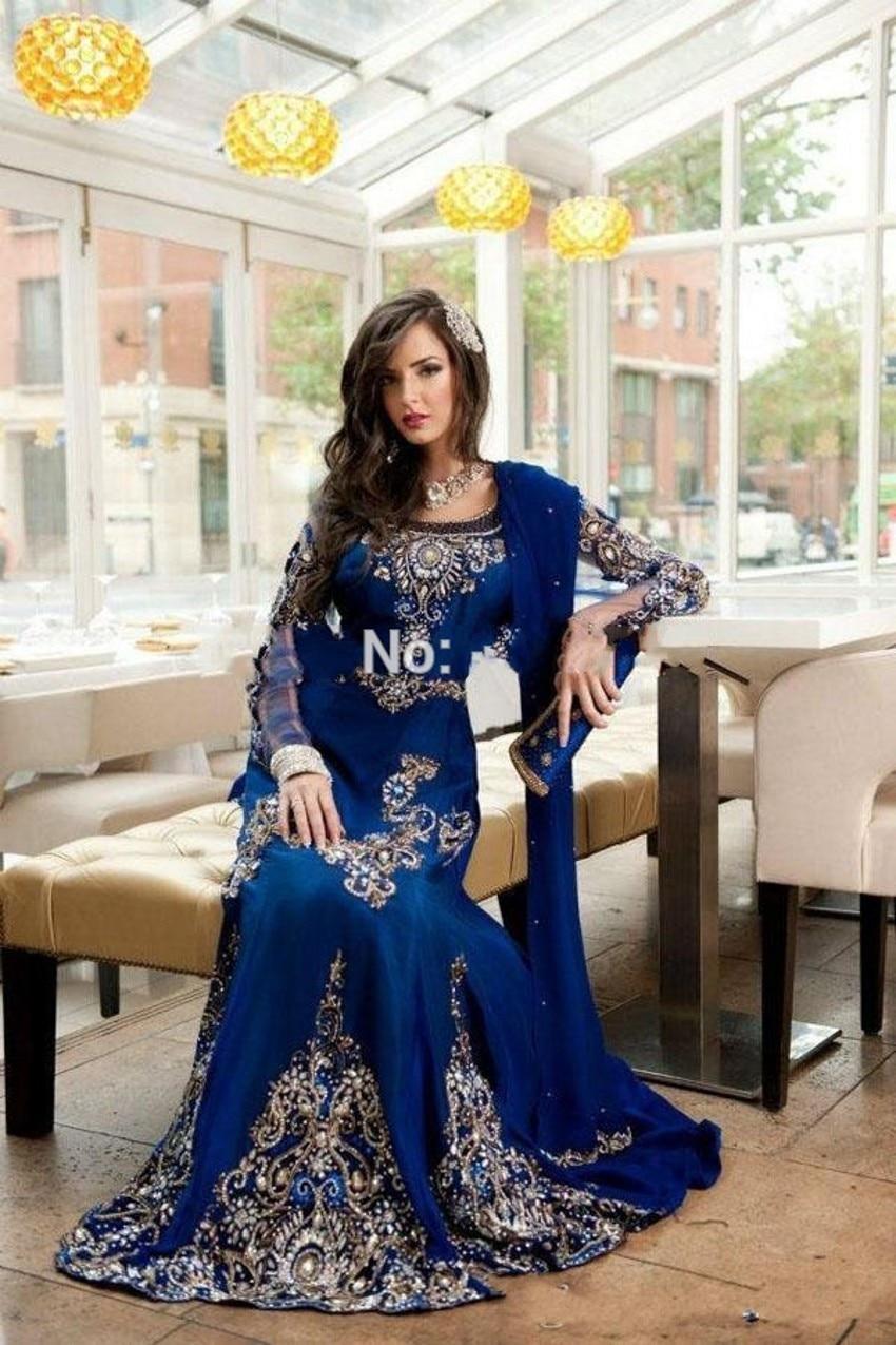 Elegant Beaded Muslim Evening Dress Long Sleeve Kaftan Dress Evening Dress Scoop Neck For Women-in Evening Dresses from Weddings & Events on Aliexpress.com | Alibaba Group