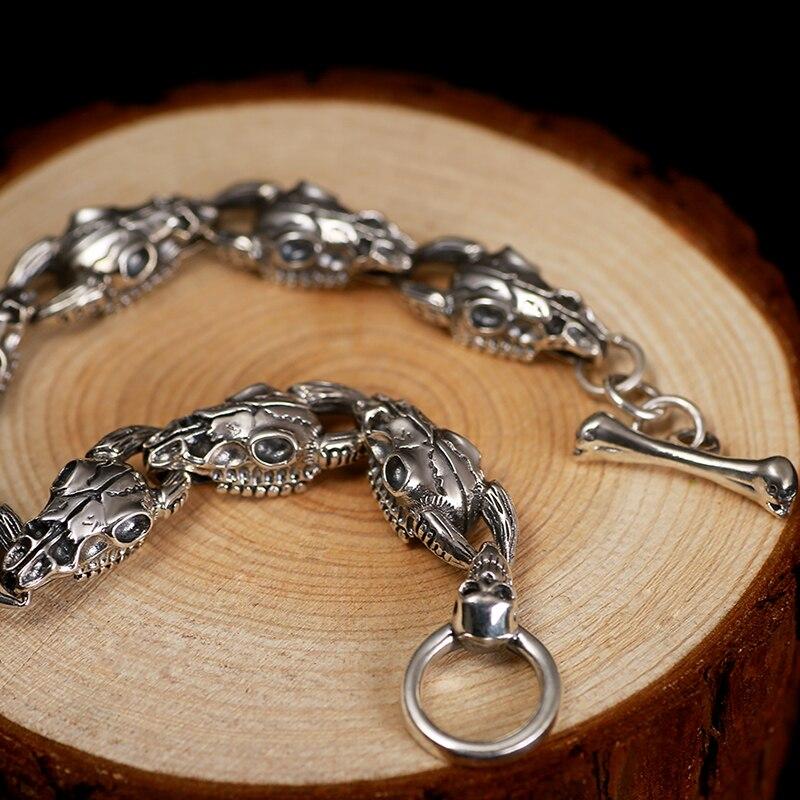 ZABRA Handmade 925 srebrny mężczyzna czaszki bransoletka Thai srebrne bransoletki męskie dominujące osobowości w stylu Vintage biżuteria punk rockowa w Bransoletki i obręcze od Biżuteria i akcesoria na  Grupa 3