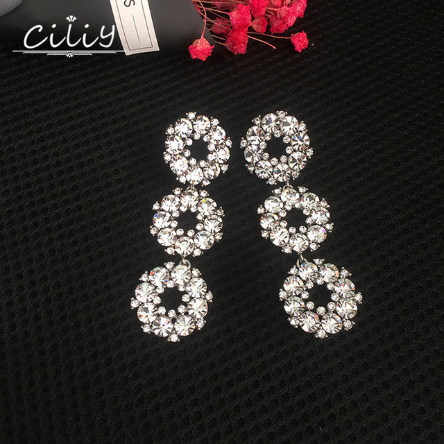 Ciliy Statement Fashion Big Glass Crystal Stone Long Drop Earings Boucles D'Oreille Vintages Hanging Earrings Brincos WE8130