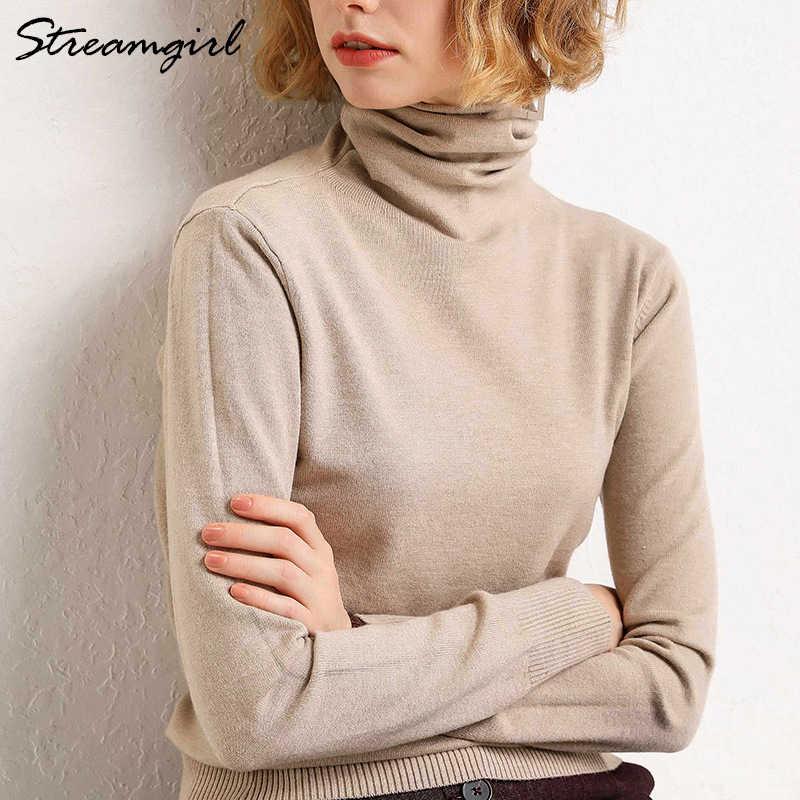 여자의 터틀넥 캐시미어 스웨터 여성 따뜻한 점퍼 숙녀 풀오버 가을 겨울 여성 스웨터 블랙 스웨터 터틀넥