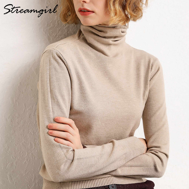 Winter Turtleneck Sweater Women Wool Warm Jumpers Ladies Pullover 2019 Autumn Winter Sweaters Black Cashmere Sweater Turtleneck(China)