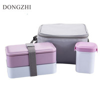 Japanese Lunch Box With Soup Mug Insulated Cooler Bag Microwave Container For Food Storage 3pcs Safe Picnic Lauch Boxs LB017