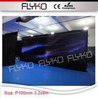 Пикселей 100 мм Качество продукции интерактивные 3.2x8 м LED ткань дизайнерские эксклюзивные настенные занавес декор