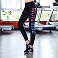 2016 Женщин новый цветной печати буквы упражнение спандекс Леггинсы резервное сухой узкие брюки