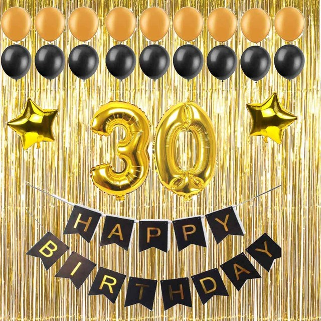 1 Set 30 40 50 60 Years Old Adult Birthday Party Diy Decoration Gift Black Paper Banner Large Number Balloon Gold Metallic Curta