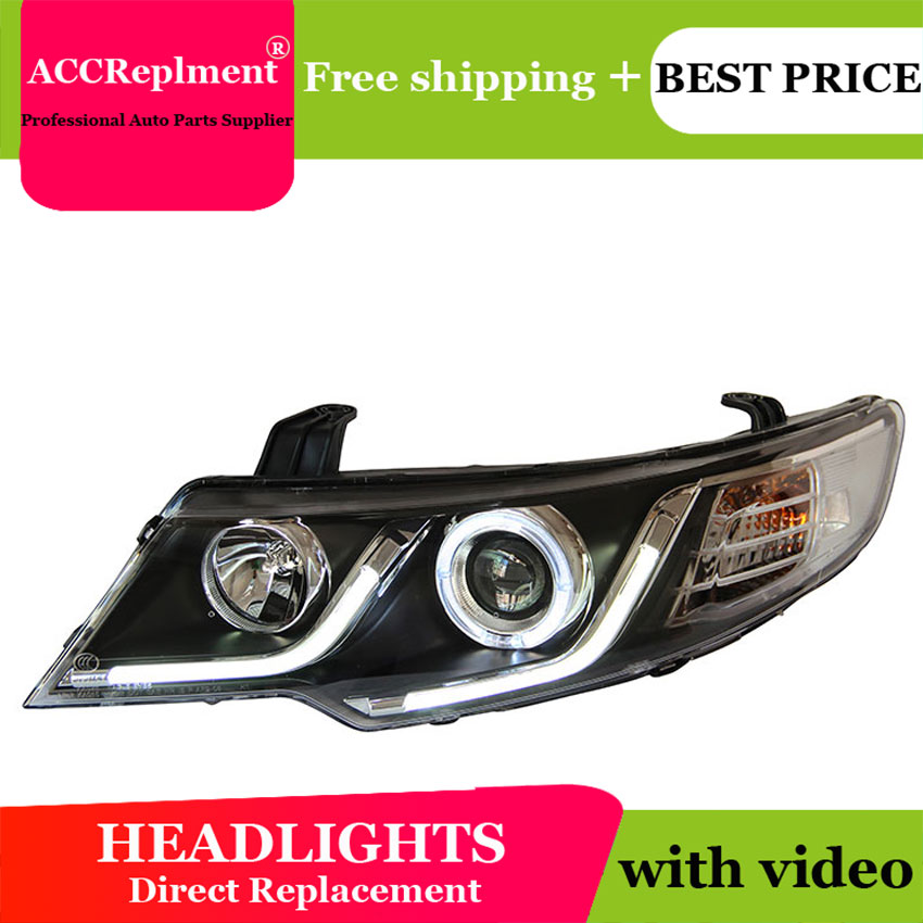 Car Styling For KIA FORTE headlights 2011 2014 FORTE led headlight CERATO led drl projector headlight H7 hid Bi Xenon Lens
