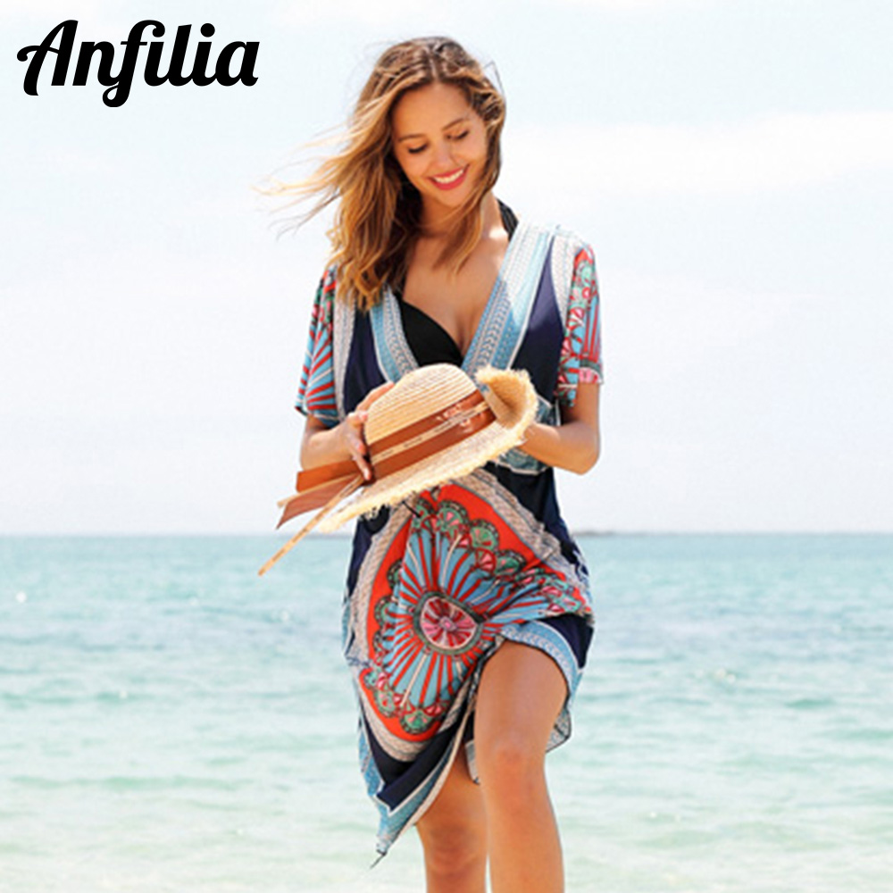 Anfilia Women's Cover Up Dress Chiffon Tassel Bikini Coverup Ladies Bohemian Swimsuit Sexy Tunic Swimwear Beachwear