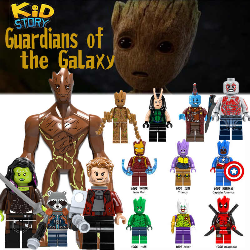 In Marvel Galaxy Penjaga Super Hero Roket Star-Lord Gamora Groot Deadpool Yondu Batman untuk Mini Bata Blok Bangunan mainan