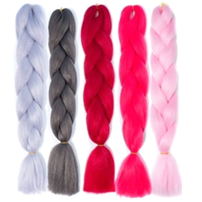 24inch Synthetic Braids High Temperature Fiber Straight For Female Colorful