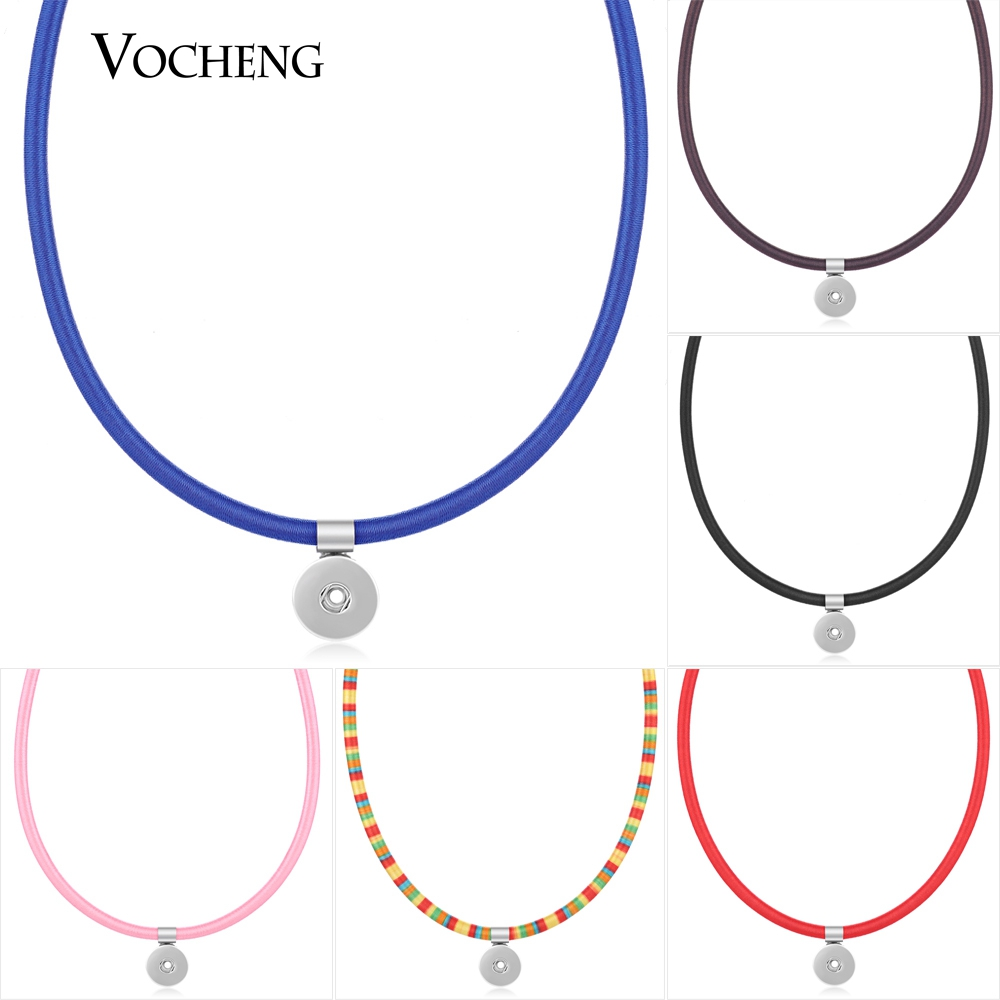 Vocheng 18mm Ginger Snap Button Jewelry 11 Colors Cotton Pendant Necklace NN-383