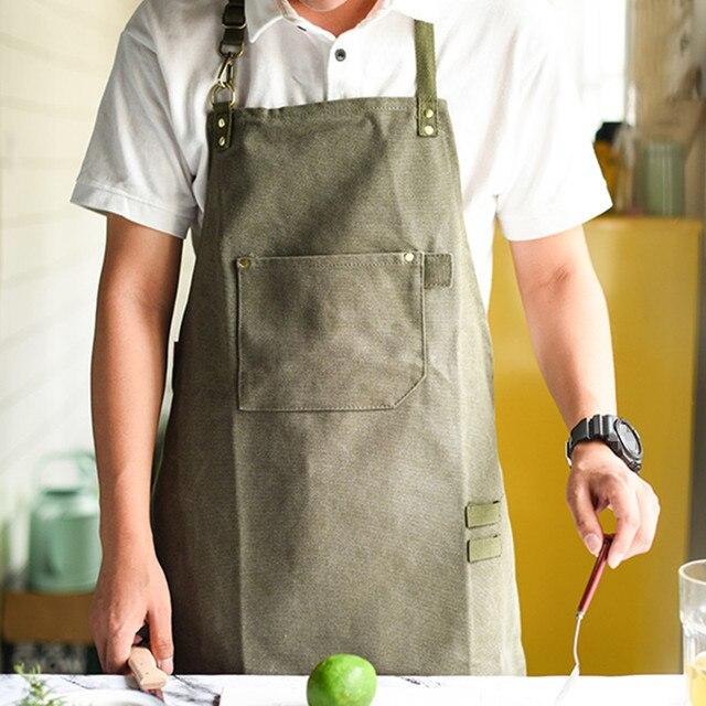 Long Canvas Apron Barista Bartender Baker Chef Catering Uniform Florist Carpenter Tattoo Artist Painter Gardener Work Wear K91 1