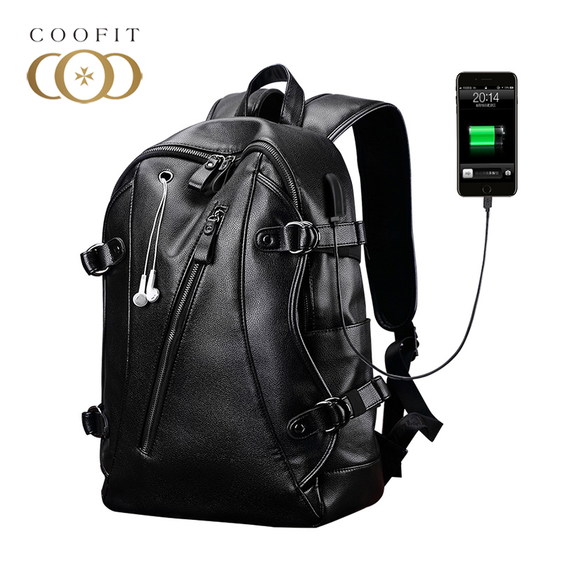 Coofit Male Men Backpack With Headphone Plug Fashion PU Leather Laptop Bagpacks For Boys Teens School Bags USB Rucksacks Daypack