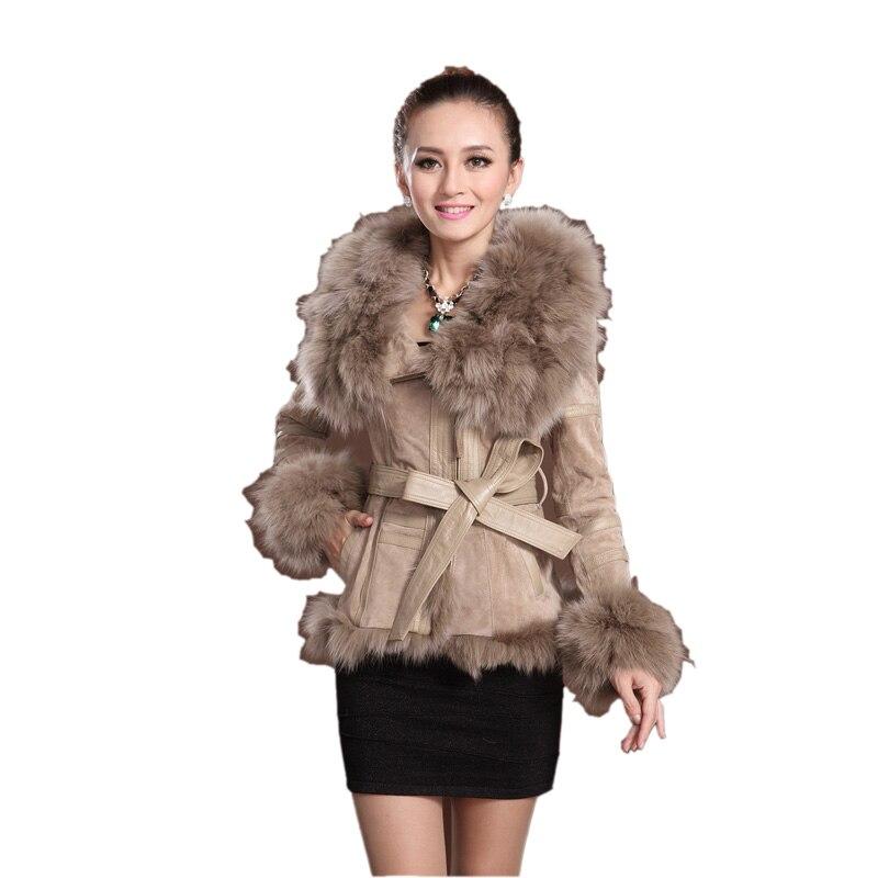 Для женщин 100% натуральным лисьим Мех животных пальто толстый зимний большой лисы модная кожаная куртка Верхняя одежда Средства ухода за ко