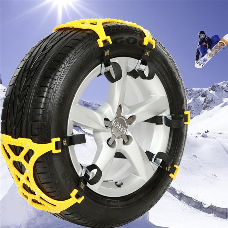 Encell 6pcs Set Snow Chains Universal Suit Tyre Winter Roadway