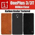 Oneplus 3 t caso original nillkin tampa flip magnético de couro texturizado genuine qin kevlar fibra sintética para onelplus 3/3 t
